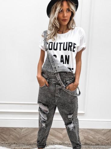 Salopette en jeans Lou - Gris